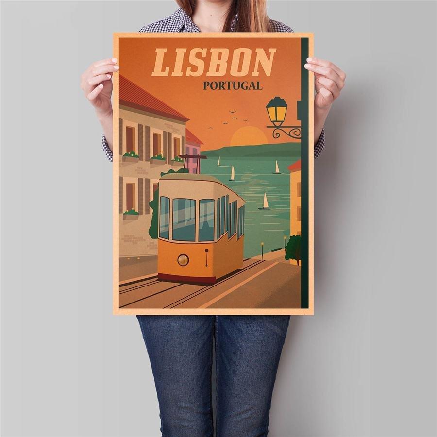 Lisbon City Travel Poster Antique Landscape Painting Vintage Kraft Paper Poster 42x30cm