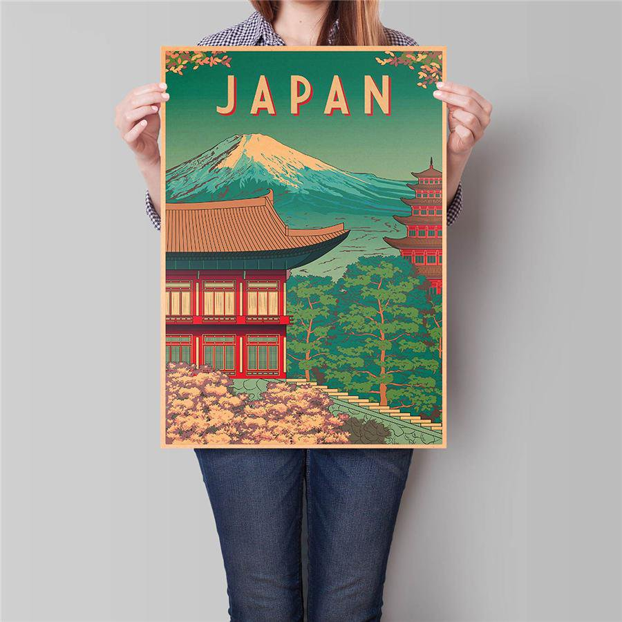 Japan City Travel Poster Hand Painted Tourist Attractions Vintage Kraft Paper Poster 42x30cm