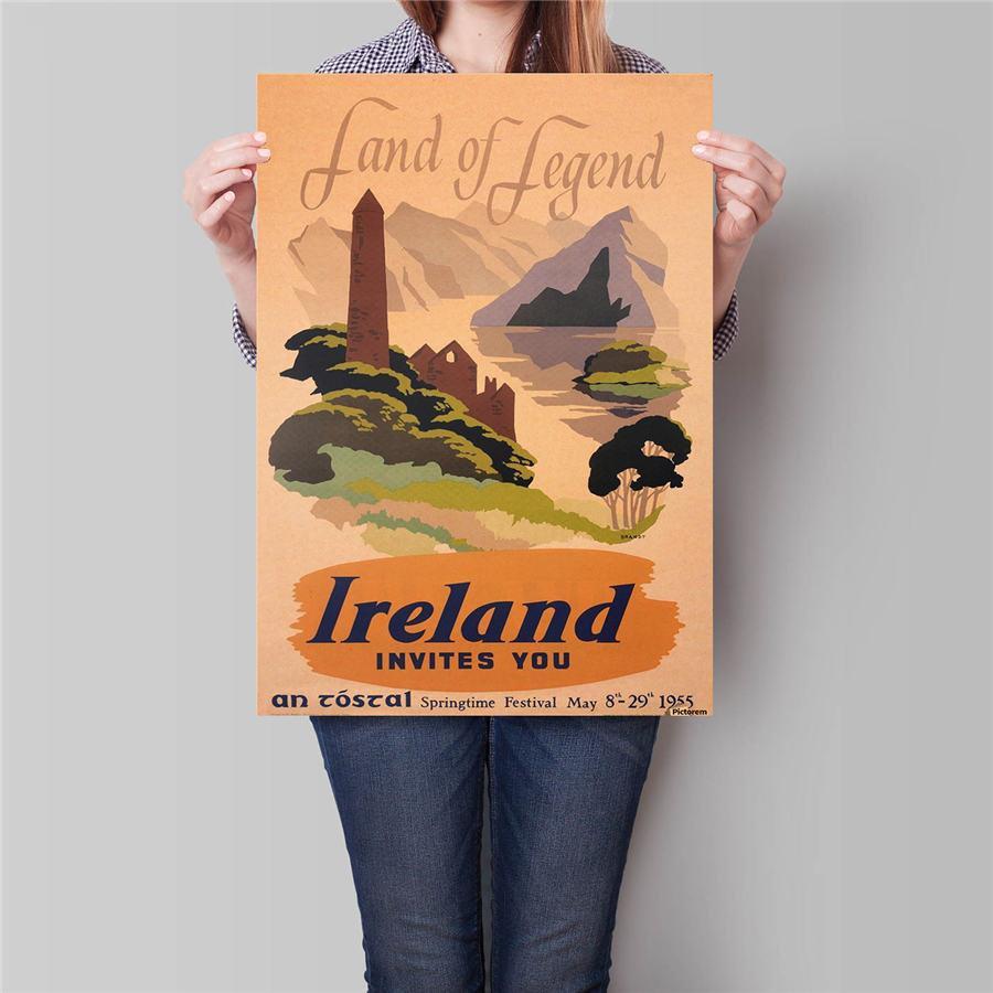 Ireland Summer City Trip Poster Wall Sticker Vintage Kraft Paper Poster 42x30cm