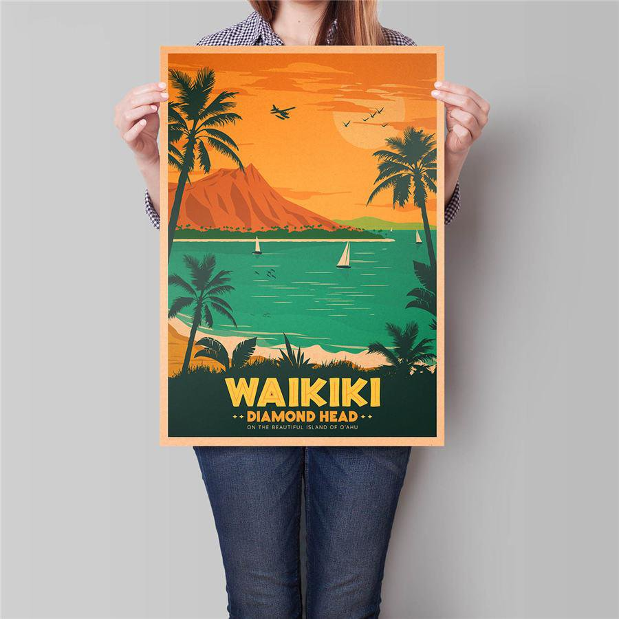Hawaii Summer Trip Poster Hand Painted Surfing Entertainment Vintage Kraft Paper Poster 42x30cm