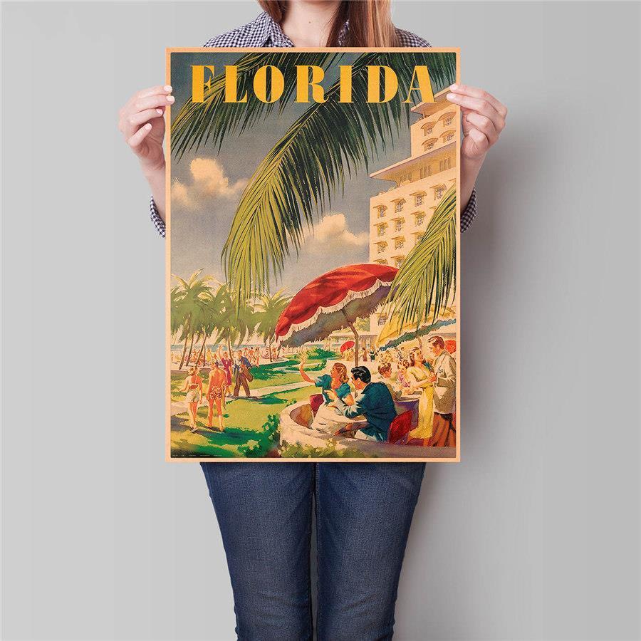 Florida City Travel Poster Antique Landscape Painting Vintage Kraft Paper Poster 42x30cm