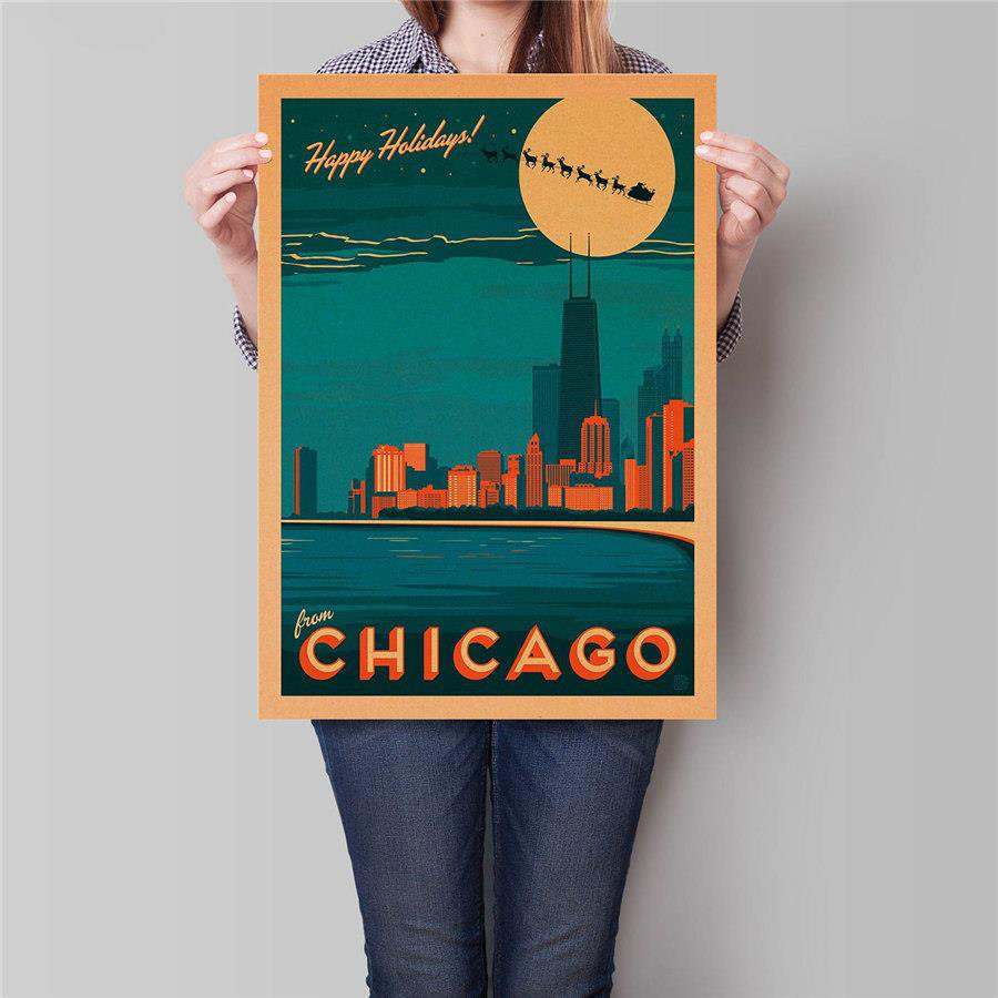 Chicago the Vacation City Poster Wall Art Sticker Vintage Kraft Paper Poster 42x30cm