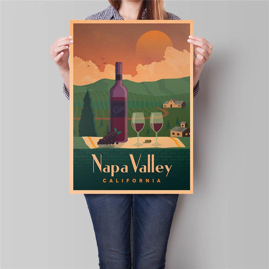 California City Poster Summer Holiday Travel Hand Painted Vintage Kraft Paper Poster 42x30cm