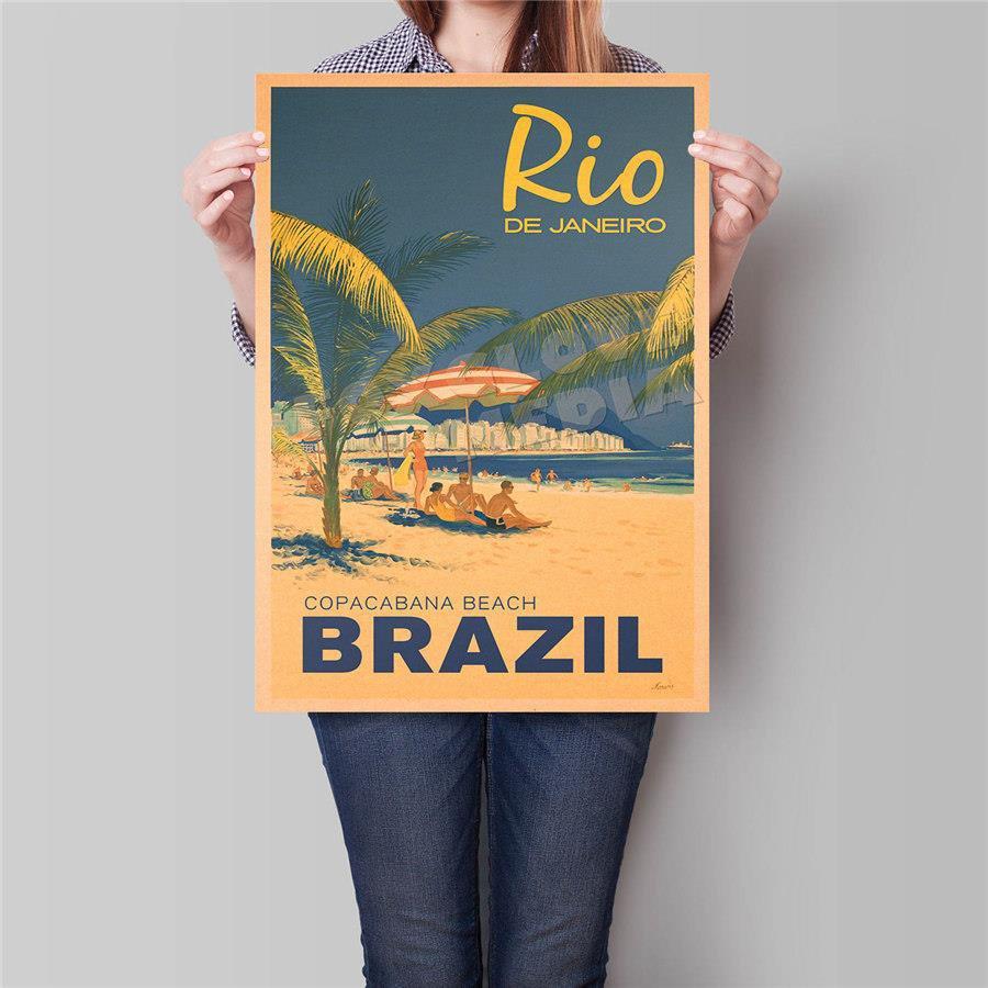 Brazil Landscape Poster Hand Painted Landmark Drawing Wall Art Sticker Poster 42x30cm