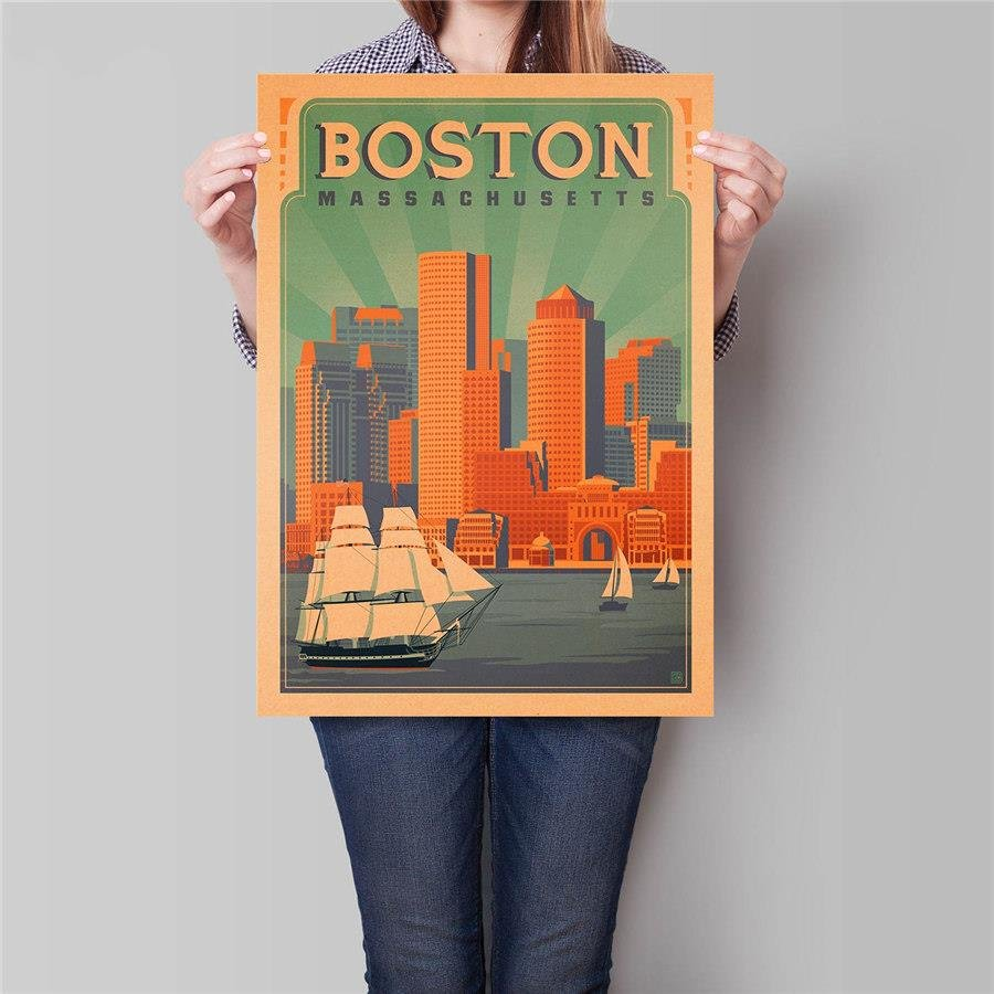 Boston City Travel Poster Hand Painted Tourist Attractions Vintage Kraft Paper Poster 42x30cm