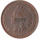 US 1874 Indian Head One Cent Copper Copy Coins