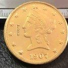 US 1907-S Liberty Head Ten Dollars Copy Coin