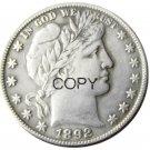 US 1892 Barber Half Dollar Copy Coin