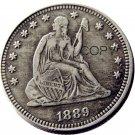 USA 1889 Seated Liberty Quarter Dollars 25 Cent Copy Coin