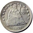 USA 1877 Seated Liberty Quarter Dollars 25 Cent Copy Coin