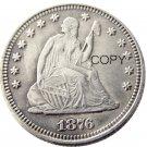 USA 1876 Seated Liberty Quarter Dollars 25 Cent Copy Coin