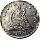 USA 1874 Seated Liberty Quarter Dollars 25 Cent Copy Coin