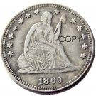 USA 1869 Seated Liberty Quarter Dollars 25 Cent Copy Coin