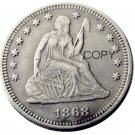 USA 1868 Seated Liberty Quarter Dollars 25 Cent Copy Coin