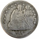 USA 1867 Seated Liberty Quarter Dollars 25 Cent Copy Coin