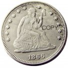 USA 1866 Seated Liberty Quarter Dollars 25 Cent Copy Coin