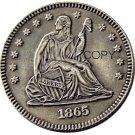 USA 1865 Seated Liberty Quarter Dollars 25 Cent Copy Coin