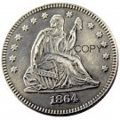 USA 1864 Seated Liberty Quarter Dollars 25 Cent Copy Coin