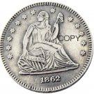 USA 1862 Seated Liberty Quarter Dollars 25 Cent Copy Coin