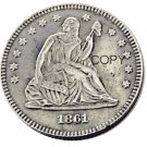 USA 1861 Seated Liberty Quarter Dollars 25 Cent Copy Coin