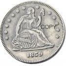 USA 1859 Seated Liberty Quarter Dollars 25 Cent Copy Coin