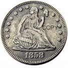 USA 1858 Seated Liberty Quarter Dollars 25 Cent Copy Coin