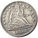 USA 1853 Seated Liberty Quarter Dollars 25 Cent Copy Coin