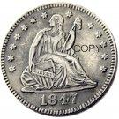 USA 1847 Seated Liberty Quarter Dollars 25 Cent Copy Coin