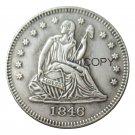 USA 1846 Seated Liberty Quarter Dollars 25 Cent Copy Coin