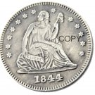 USA 1844 Seated Liberty Quarter Dollars 25 Cent Copy Coin
