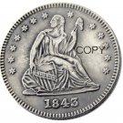 USA 1843 Seated Liberty Quarter Dollars 25 Cent Copy Coin