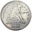 USA 1842 Seated Liberty Quarter Dollars 25 Cent Copy Coin