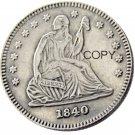 USA 1840 Seated Liberty Quarter Dollars 25 Cent Copy Coin