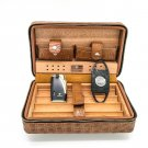 Cohiba Leather Cedar Cigar Travel Case Humidor with Cigarette Cutter and Lighter Brown
