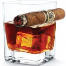 Crystal Whiskey Glass Tumbler with Cigar Holder 320ml Cool Fancy Unique Gift