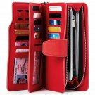 Carryall Leather Wallet For Women Red ID Card Holder Long Coin Purse Zipper Gift