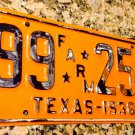 1938 Texas FARM License Plate - '38 TX Tag - YOM REGISTERABLE! Farmer Rancher