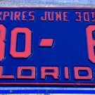 1953 Florida ODD TYPE half year semi License Plate BAY County 23 o-66 '53 FL Tag