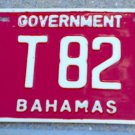 obsolete 1980s Bahamas GOVERNMENT TRUCK License Plate T82 Low Number Bright Red!