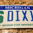 REAL Michigan State University Spartans License Plate DIX 16 S DICKS ONE SIX Hmm