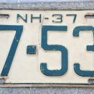 1937 New Hampshire license plate '37 NH Tag 17-534