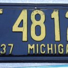 1937 Michigan SHORTY license plate '37 MI Tag F 4812