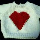 Handmade Valentine Heart Sweater for 16 inch Cabbage Patch Kid Doll