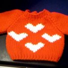 Handmade Valentine Four Hearts Sweater for 15 inch Bitty Baby Doll