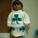 Handmade St Patrick's Day Shamrock Three Piece Outfit for 18 inch American Girl Doll