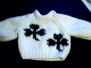 Handmade St Patrick's Day Two Shamrocks Sweater for 16 inch Cabbage Patch Kid Doll