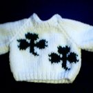 Handmade St Patrick's Day Two Shamrocks Sweater for 15 inch Bitty Baby Doll