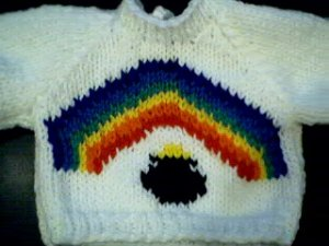 Handmade St Patrick's Day Pot of Gold under the Rainbow Sweater for 15 inch Bitty Baby Doll