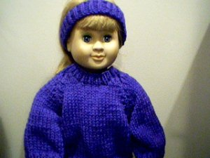 Handmade Pullover Sweater and Matching Headband Set for 18 inch American Girl Doll