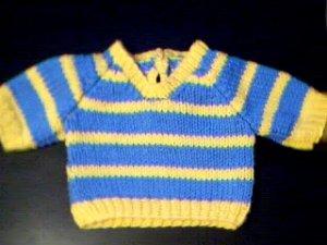 Handmade Two Stripe V Neck Pullover Sweater for 18 inch American Girl Doll